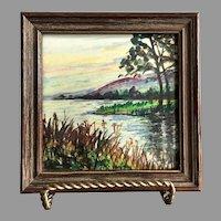 REDUCED Vintage Hand Painted Framed Tile Lake Scene