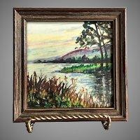 Vintage Hand Painted Framed Tile Lake Scene