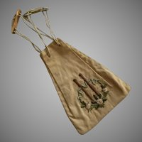 Arts & Crafts Era Embroidered Draw String Purse