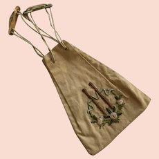 Arts & Crafts Era Embroidered Draw String Purse
