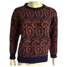 Vintage Burberry Paisley Wool Sweater