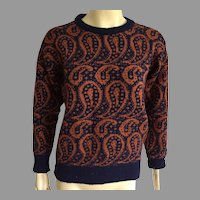 REDUCED Vintage Unisex Burberry Paisley Wool Sweater