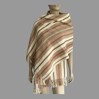 REDUCED Handwoven Guatemalan Striped Cotton Shawl / Table Runner