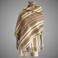 Handwoven Guatemalan Striped Cotton Shawl / Table Runner