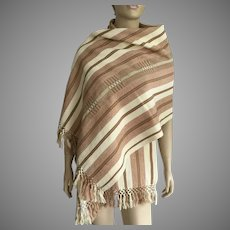 Handwoven Guatemalan Striped Cotton Shawl / Table Runner
