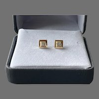 14K Gold Square Pierced Earrings With Diamonds