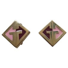 Givenchy Art Deco Style Gold Tone and Enamel Earrings 1977