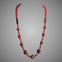 Vintage Red Italian Glass Bead Necklace