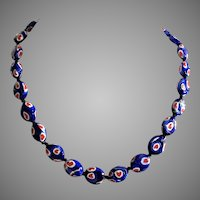 Vintage Italian Glass Red White Blue Heart Bead Necklace