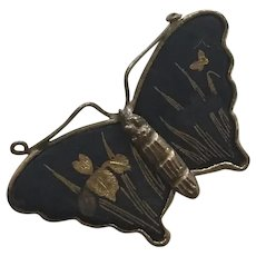 REDUCED Vintage Japanese Damascene Butterfly Pin