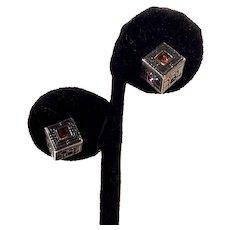 Patricia Locke Silver Etched Cube Rhinestone Pierced Earrings