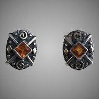 Artist Made Sterling Gold & Citrine Pierced Earrings
