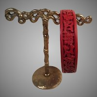 Vintage Chinese Carved Cinnabar Bangle Bracelet