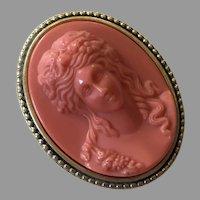Vintage Estee Lauder Faux Coral Cameo Solid Perfume Youth Dew
