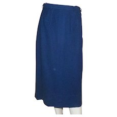 1950's Dalton Navy Blue Wool Pencil Skirt