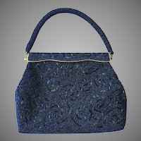 Vintage Blue Carnival Glass Beaded Purse Made In Hong Kong