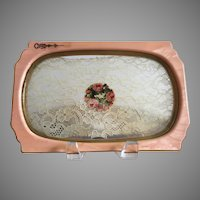 Vintage Peach Celluloid Vanity Tray With Lace Insert