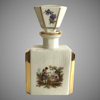 Vintage German Hand Painted Porcelain Perfume Bottle