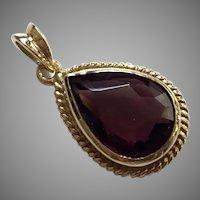 Vintage 14K Yellow Gold Amethyst Pendant