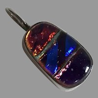 REDUCED Vintage Sterling Dichroic Glass Pendant Artist Made