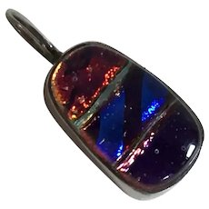 Vintage Sterling Dichroic Glass Pendant Artist Made