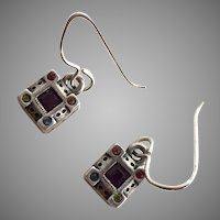 Patricia Locke Silver & Rhinestone Drop Earrings