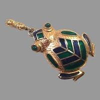REDUCED Rosenfeld By Florenza Large Goldtone Enamel Frog Pendant