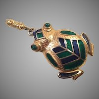 Rosenfeld By Florenza Large Goldtone Enamel Frog Pendant