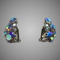 Vintage Weiss Blue Aurora Borealis Clip Earrings