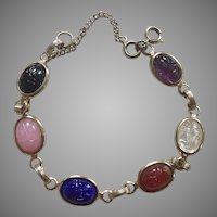 Vintage Glass Scarab Bracelet With Safety Chain