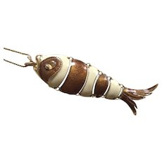 Vintage D'Orlan Articulated Enamel Fish Pendant With Chain