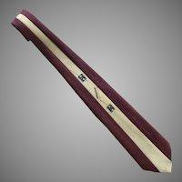 Vintage 1940's Cream & Burgundy Hand Painted Necktie Tie