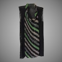Vintage Black Woven Ribbon Top With Beading