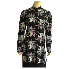 Vintage Black Silk Embroidered Jacket Made In India