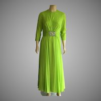 1960's Lime Green Silk Chiffon Evening Dress By Bob Bugnand For Sam Friedlander