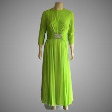 1960's Lime Green Silk Chiffon Evening Dress By Bob Bugnand For Sam Friedlander