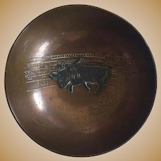 Vintage Mexican Copper & Sterling Bowl By Victoria Bull Fight Motif