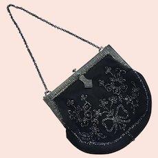 REDUCED Vintage Black Suede & Silvertone Beaded Purse