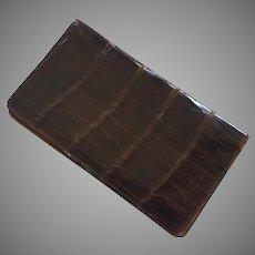 Vintage Genuine Brown Alligator Flat Wallet