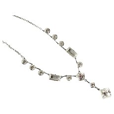 Art Deco Clear Crystal Sterling Drop Necklace