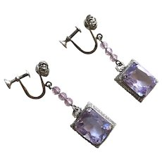 Vintage Edwardian / Art Deco Sterling Amethyst Glass Drop Earrings