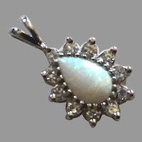 Vintage 14K White Gold Opal & Diamond Pendant