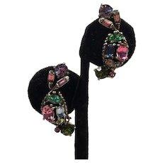 Vintage Hollycraft Rhinestone Earrings 1955