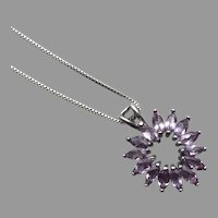 REDUCED Amethyst & Sterling Open Heart Pendant Necklace