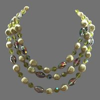 Vintage Three Strand Vendome Necklace Crystals & Faux Pearls