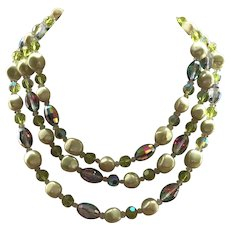 Vintage Three Strand Vendome Necklace Crystals & Faux Pearls