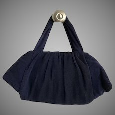 Vintage 1940's Pleated Crepe Purse With Lucite Clasp