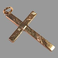 REDUCED Antique 10K Yellow Gold Etched Cross Pendant
