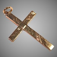 Antique 10K Yellow Gold Etched Cross Pendant