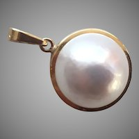 14K Gold & Mabe Pearl Pendant